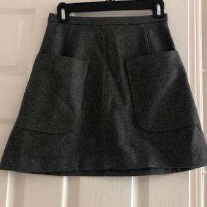 Gray wool A line skirt